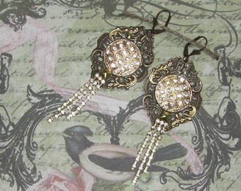 Art Nouveau fairy of RHINESTONE earrings
