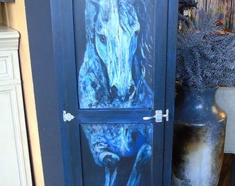Blue horse cabinet