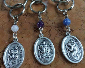 St. Christopher medal key chain or bag clip