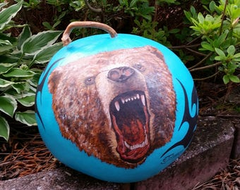 Gourd Bear Hand Painted/Burned
