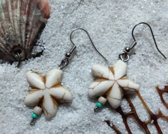 Starfish Earrings, dangle earrings, beach earrings, beaded earrings