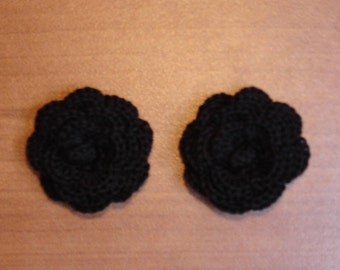 """set of 2 black flowers crocheted """"pink style"""""""
