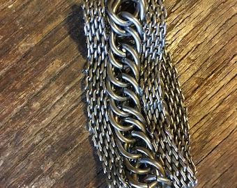 Vintage Large Chunky Silver Bracelet