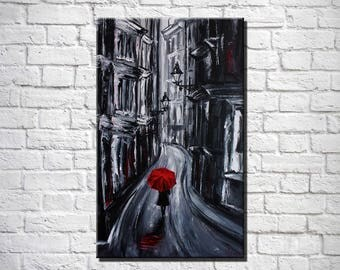 Red umbrella Art Wall art Painting on canvas Rainy day Girl with umbrella Girl in the rain Valentine's day Black and white Woman street art