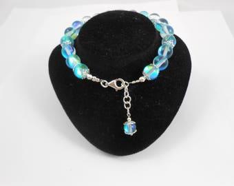 Composite Moonstone beaded bracelet, 925 sterling silver and 8mm royal blue