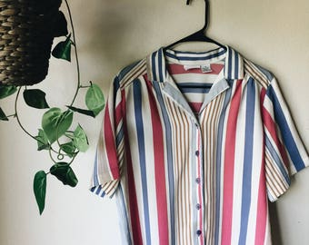 Striped 90's button up blouse