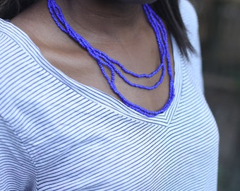 Bright Blue Beaded Necklace