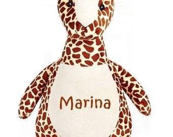 Personalized stuffed giraffe