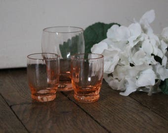 Set of 3 cute liquor glasses, french antiques, pink glass