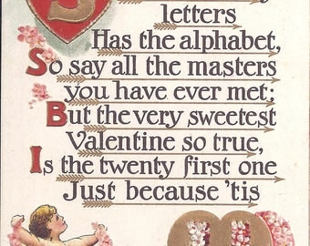 Vintage Embossed Postcard from from 1910. Valentine Poem, Cherubs, hearts  Series V6, BB London Printed in Saxony.  Has been posted.