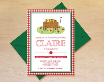 Apple Orchard Invitation, Orchard Birthday Invitation, Apple Birthday Invitation, Apple Wagon Invitation, Fall Birthday Theme, Printable