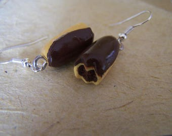 Crocheted lightning realistic chocolate, delicious dessert earrings realistic polymer clay, polymer jewelry. .