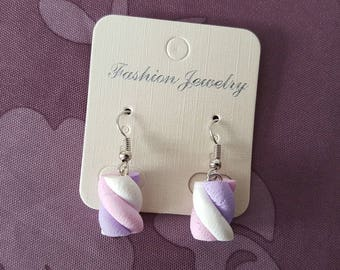 """""""Purple Marshmallow"""" hook earrings with polymer clay"""