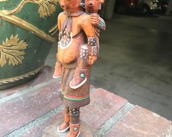 10.5 inch Carved Hopi Koyemsi  or Mudhead Kachina - Signed