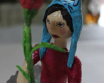 Paper mache sculpture ***Girl with rose***