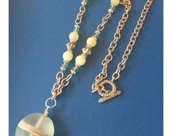 Pale Green Lamp work Bead Necklace - Beach Girls Beads and Bling