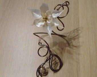 Wedding or ceremony chocolate and ivory flower bracelet