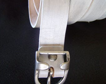 2 cm silver-white leather belt handcrafted vegetable tanned, personalized collar