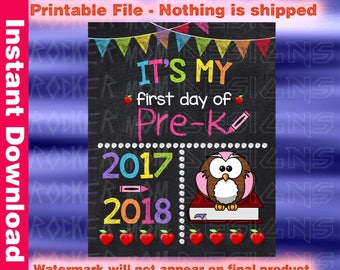 Pre-K sign, First Day Of School Sign, DIY Printable Back To School Sign, Pre-K Chalkboard Sign, Back To School Chalkboard, Pre-k Poster Girl