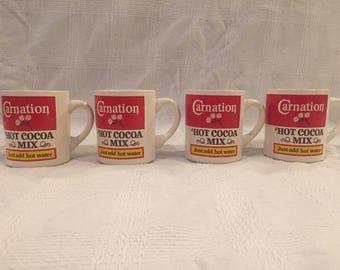 4 Carnation Hot Cocoa Mix Mugs