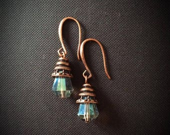 Nickel free Copper earwire with a beautiful sparkly greenis glass stone
