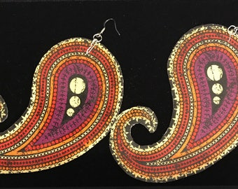 Handmade, textile drop earring. Paisley, oversized, dramatic