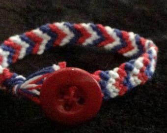 red,white and blue bracelet