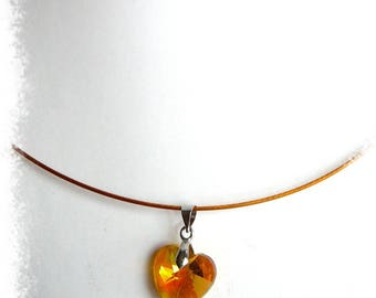 orange heart Crystal pendant necklace