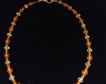 AAA Amber and Quartz Crystal Necklace