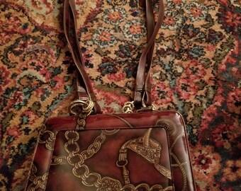 Vintage Sondra Roberts Brown Patent Leather Handbag