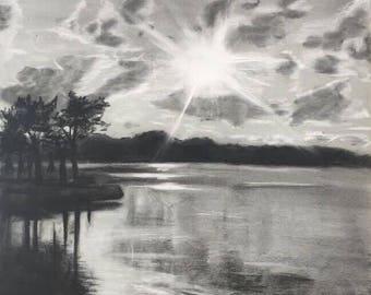 "Matted Fine Art Print: ""Sunset on the Lake"""