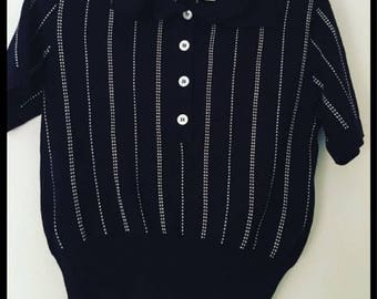 Vintage Escada striped short sleeve top/sweater