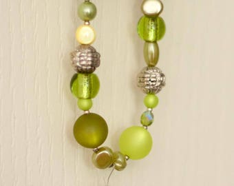 Long green beaded necklace