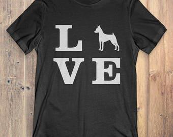 Miniature Pinscher Dog T-Shirt Gift: I Love Miniature Pinscher