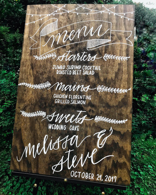Wooden Wedding Menu Board Sign Rustic