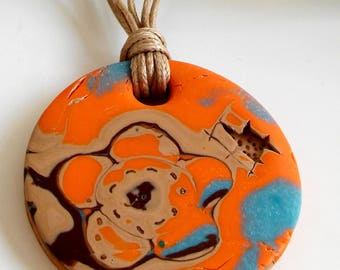 Polymer Clay Necklace, Orange Polymer Clay Necklace, Polymer Clay Jewelry, Polymer Clay Pendant Boho Necklace, Gift for Her Handmade Jewelry