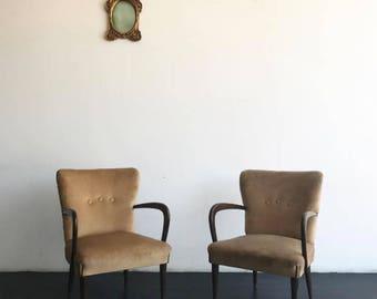 SOLD-beige velvet chairs Pair