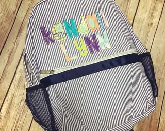 Messy Monogrammed Backpack