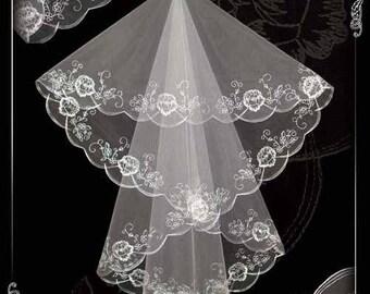 Wedding veil, veil for wedding, embroidered veil N 23.