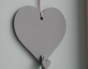 Handmade wooden heart in Manhattan Grey: photo holder