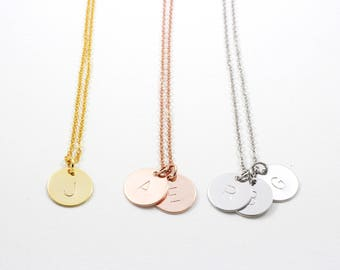 Personalized Disc Necklace | Coin Necklace | Initial Necklace | Monogram Necklace | Bridesmaid Gift | Gold, Rose Gold or Silver