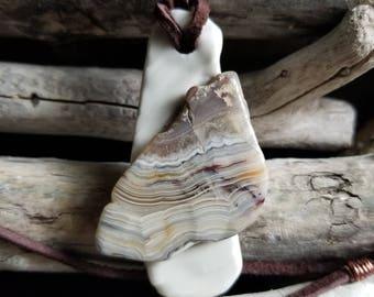 Porcelain Pendant with Agate Slab / Porcelain Jewelry, Ceramic Jewelry, Handmade Pendant
