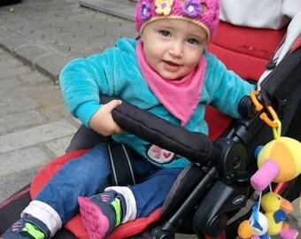 Girl crochet hat, Baby beanie, Crochet baby beret, Hat with flower