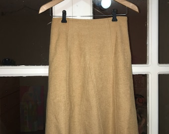 vintage CAMEL SKIRT Bess ankle/under knee length in SMALL color/fabric