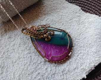 Teal and Pink Agate Druzy Copper Wire Wrapped Pendant