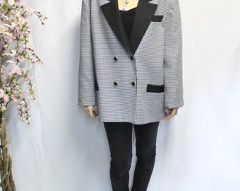 Vintage suit jacket costume black and white houndstooth