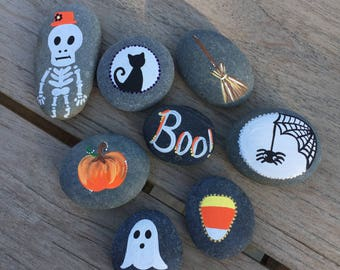 Halloween Story Stones, story telling, ghost stories, gifts for children, hand-painted rocks