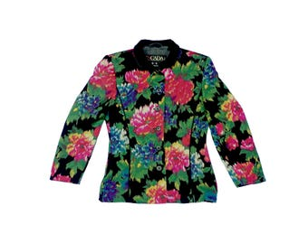 Escada 80's Graphic Abstract Floral Printed Wool Blazer with Velvet Collar size 36 (DE)