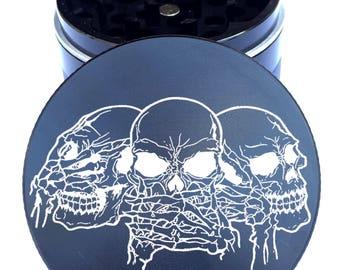 """Skull #8 Engraved Herb Grinder - Skull Herb Grinder - 2.2"""" Herb Grinder - Custom Grinder - Personalized Herb Grinder - Life Time Warranty"""