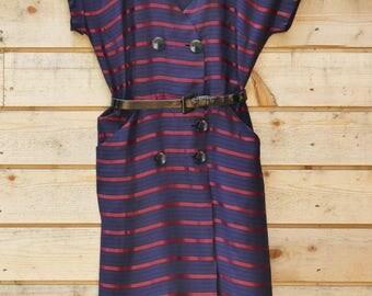 vintage 1950s dress in alternating satin and matt stripes